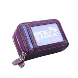 Echtes Rindsleder Doppel Reißverschluss Frauen Kartenhalter Brieftasche Leder Kreditkarteninhaber für Männer Geldbörsen mit Fototasche von Fabrikanten