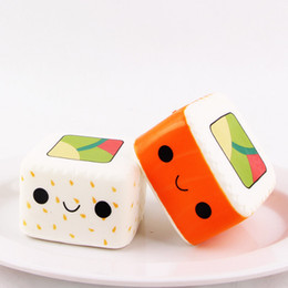 Wholesale sushi package - 2018 Arrival Jumbo Squishy square sushi Kawaii Cute sushi Slow Rising Sweet Scented Vent Charms Bread Cake Kid Toy Doll with retail package