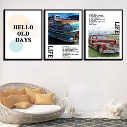 Wholesale hd car pictures - Poster Girl'S Room Simple Pictures Abandoned Car Nordic Watercolor Style Kids Decoration Prints Art Canvas Painting HD Wall