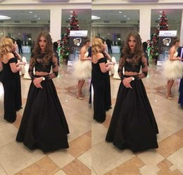 Wholesale evening dresses for teens - 2018 New Sexy Black Two Pieces Prom Dresses Long Sleeves Lace Satin Formal Evening Gowns Sexy Sheer Illusion Prom Gowns For Teens BA8184