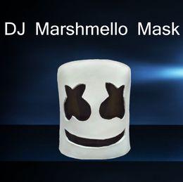 2019 heißes latexkostüm 2018 lustige Marshmello Latex Maske Heißer Verkauf Halloween Cosplay Kopfbedeckungen Fashion Festival Emoji Kostüm Zubehör Freies Verschiffen günstig heißes latexkostüm