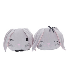 cottons doll UK - New Soft Down Cotton Couple Rabbit Head Doll Cute Plush Toy Pillow Cartoon Rabbit Children Girlfriend Holiday Gift