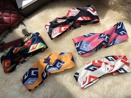 Wholesale silk fill - Fashion 5 Designs Artificial Silk Luxury Brand Hair Bands Headband Designer Headband Bandana Headbands Gifts Head Scarf for Women