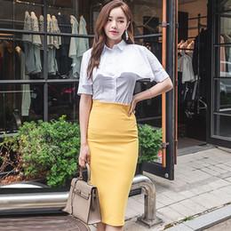 2019 amarillo vestidos blusas 2018 Autumn Cap White Blouse Midi Lápiz amarillo falda Two Piece OL Oficina traje vestido de traje amarillo vestidos blusas baratos