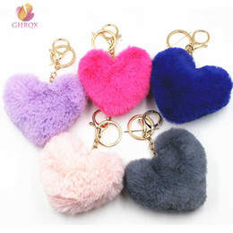 black rabbit fur ball Promo Codes - GHRQX NEW Lovely Heart Shaped Pom Poms Imitation Rabbit Fur Ball Toy Doll Bag Car Key Ring Monster Keychain Jewelry Gift
