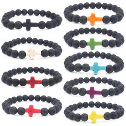 Cruzes de pedra feitas à mão on-line-9 pçs / lote mix cor vulcânica pedra redonda preto bead jóias pulseira de energia multicolor lava cruz yiwu fábrica artesanal pulseira