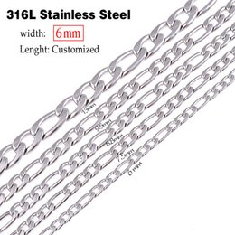 Wholesale Christmas Swags - whole sale6mm(width) stainless steel figaro necklace statement swag punk long necklace chain vintage men jewelry lenght customized