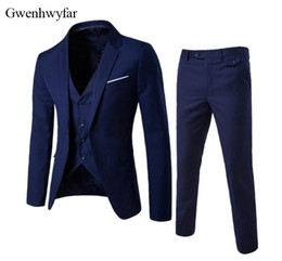 Wholesale Dark Red Vest Wedding Suit - Gwenhwyfar Men Suits 2018 Custom Navy Blue Groomsmen Wedding Tuxedos 3 Pieces Formal Party Prom Male Suits (Jacket+Pants+Vest)