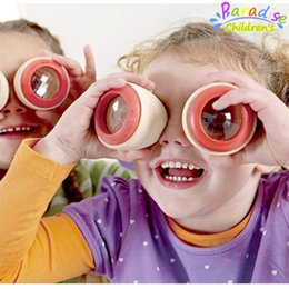 Wholesale Baby Toy Mirrors - Wholesale- 2Pcs lot German wooden toys magical kaleidoscope polygon mirror toys baby bee eye effect observed outside world toys