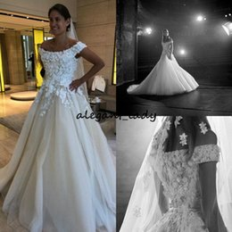 elie saab vintage wedding dresses Coupons - 2018 Elie Saab A Line Wedding Dresses Off Shoulder Lace 3D Floral Appliques Pearls Country Wedding Dress Custom Made Belt Bridal Gowns