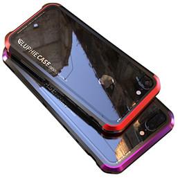 Apple i6 cubierta de metal online-Para Iphone 6 6s 7 Plus Funda de Lujo Luphie Metal + Vidrio Templado + Pc 3 en 1 Funda de parachoques de cubierta completa para Iphone 6s 6 7plus I6 I7