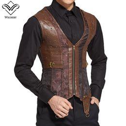 Wholesale Leather Shirts Men Zipper - Wechery Vintage Body Shaper Corset Men Leather Gothic Steampunk Korset Retro Lace Up Brown Zipper Tops Slimming Shirt For Man