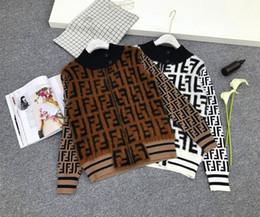 Veste en maille en Ligne-Haute qualité col haut F lettre plaid couleur de contraste à carreaux fourrure couture cardigan veste hommes et femmes veste pull