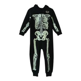 Wholesale Skeleton Costume Child - Autumn Winter Skeleton Overalls Jumpsuit Kids Pajamas Children Onesie Sleepers Pajamas Christmas Halloween Costumes