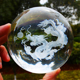 Wholesale 3d Glasses China - 3D Crystal Dragon Ball Figurine Feng shui Office Decorative Storm Glass Ball Balls Ornaments Animal Dragon Statue Crafts