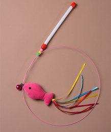 Wholesale Bell Plush - Cat Teaser Bell Colorful Fish Style Funny Kitten Rod Attractive Newly Design Plush Pet Cats Wand High Quality 2 2yc X Z