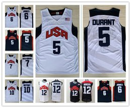 Wholesale Olympic Basketball Jerseys - 2012 London Olympic Games Dream Team #5 Kevin Durant #6 LeBron James 12#James Harden Jersey 7# Westbrook 10#Kobe Bryant Basketball Jerseys