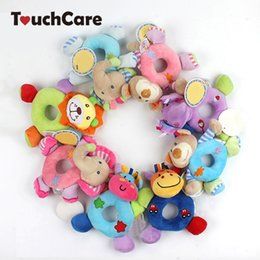 Wholesale girls development - Newborn Cute Cotton Baby Boy Girl Rattles Infant Animal Hand Bell Kids Plush Toy Development Gifts Rings Toddler Toys