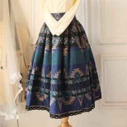 Wholesale Wool Skirts Vintage - 2016 Vintage Long Blue Women Wool Pleated Skirts European Style Geometric Print Thick Woolen Skirts
