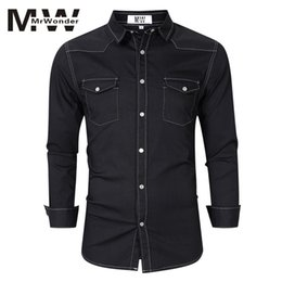 437ee6aee2c MrWonder Men s Black Denim Shirts Plus Size S-XXL Cotton Full Sleeve Fashion  Men s Causal Shirts 2018 Autumn Designed SAN0