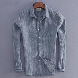 494a45ba768d 2018 nuovi uomini di arrivo camicia di lino della banda di moda maschile  casual a maniche lunghe Top Quality Fluid Slim Fit camicia di base abbigliamento  di ...