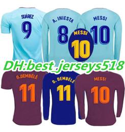 Wholesale Messi Jersey Xl - 17 18 SUAREZ Jerseys 2017 Camisas Dembele Messi INIESTA O.DEMBELE Soccer Jersey Camiseta de futbol Rakitic Long sleeves third 3RD Paulinho