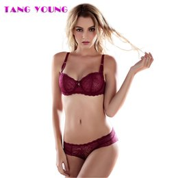 50cd093065be2 TANG YOUNG Women Embroidery 3 4 Cup Mesh Bra Set Transparent Temptation Red  Bra And Panty Set Sexy Underwear Knickers HA0330