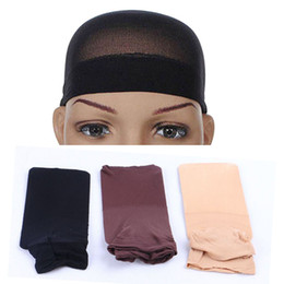 Wholesale elastic wig caps - Wig Cap Stretchable Elastic Hair Net Nylon Silk Stockings Mesh for Making Wig Weaving 3 colors Black Brown Beige 12Packet Lots (2pcs packet)