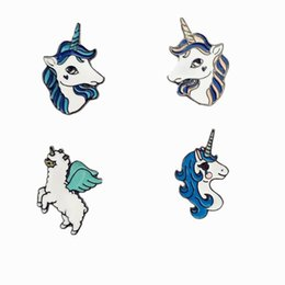 Wholesale Free Pin Buttons - Wholesale- Free Shipping Cartoon Cute Animal horse Brooch Pins Button Pin Jeans Bag Clothes Decoration For Women Girl Gift Fashion Jewelry