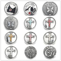 ganchos de botão antigo Desconto Requintado Inlay Rhinestone Cristal Cruz / Borboleta Snap Botões 18mm Botão de Flor de Metal Decorativo para DIY Snap Resultados Da Jóia