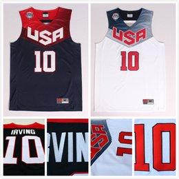 Wholesale Basketball Jersey Usa - Kyrie Irving #10 2014 Basketball World Cup USA Dream Team American White and Blue 11 Kyrie Irving Jerseys, Free Shipping
