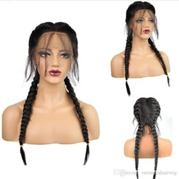 Wholesale long brown braided wig - Hot Selling Natural Boxer Braids Long Natural Black Straight Double Braided High Temperature Fiber Synthetic Lace Front Wig With Baby Hair