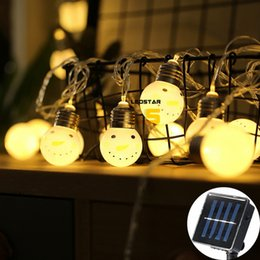 Wholesale white round lanterns - New Arrival Solar Led Strings With 20 Smiling Snowman Globe Ball 4m LED Christmas Lantern Garland Wedding Decor Holiday Lighting