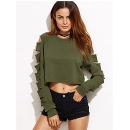Wholesale Army Shorts For Women - Hot Selling Europe Fashion New Personality Holes Cropped Hoodies for Women Round Neck Full Sleeve Solid Color Sweatshirt Female