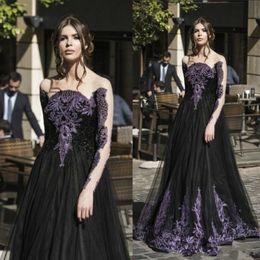 2019 vestidos de fiesta góticos púrpura Gothic Black Spring Prom vestidos de manga larga púrpura perlas de cristal una línea de tul largo vestido de fiesta de noche formal para damas vestidos de fiesta góticos púrpura baratos
