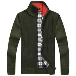 Wholesale Cashmere Cardigan Xs - 2017 Brand Warm Thick Velvet Cashmere Sweaters Men Cardigans Zipper Mandarin Collar Man Casual Sweatercoat Solid Knitwear Coats