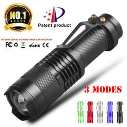 Linterna led aa baterias online-Q5 LED 300LM Zoom Mini Linterna 5 Colores Portátil AA 14500 Antorcha de la batería Linterna Linterna impermeable para la pesca al aire libre Camping