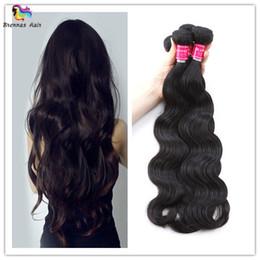 Wholesale Brazilian Virgin Hair Uk - 2018 New style Brazilian body wave hair extension 3pcs for full head natural black color for black woman USA UK