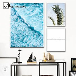 Wholesale ocean art prints - Scandinavian Sea Waves Wall Art Canvas Painting Leaf Ocean Seascape Nordic Posters and Prints Decorative Picture Home Decoration