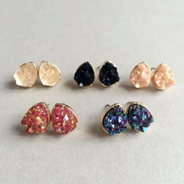 Wholesale rainbow druzy - 10 Rainbow Colors 10mm Druzy Silver Golden Plated Small Studs Sequins Square Water-drops Shaped Resin Earrings Gemstone Jewelry