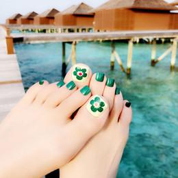 Canada Focallure Full Cover Nails Outils Faux Nail Art Conseils Naturel Belle Fleur Vert False Toe Nails Pour Maquillage De Beauté cheap natural green flowers Offre