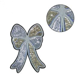 30PCS ricamato argento oro fiocco patch paillettes cucito su applique fashion decor per borse magliette felpe con cappuccio fai da te strisce adesivi per abbigliamento da