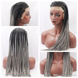 Wholesale Half Lace Wig Cheap - Wholesale Cheap Ombre Gray Synthetic Braided Lace Front Wigs Half Hand Heat Resistant Bariding High Quality Beautiful Wigs for Black Women