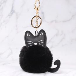 Wholesale key chain ring bronze for sale - Women Fluffy Cat Mini Key chain  Faux Rabbit d3d65fef4b