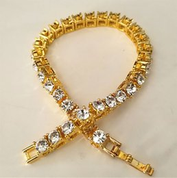 gold-diamant-tennis-armbänder Rabatt Iced Out 1 Reihe Strass Kristall Armbänder Hip Hop Stil Klar Simulierte Diamanten Armband Männer Frauen Modeschmuck