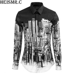 Wholesale Arts Architecture - NEW 2018 Mens Brand Shirt ,Art Architecture Printing Casual Shirt,Men's Dress Shirts Long Sleeve Luxurious Clothing YXS5-388