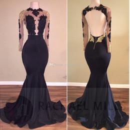 Manches longues sirène demoiselle d'honneur robes de bal 2019 pure appliques du cou satin dos nu noir or robes de soirée formelle robe de soirée ? partir de fabricateur