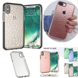 Wholesale diamond bumpers - Diamond Pattern Transparent Case For iPhone X 8 Plus TPU Bumper Clear Shockproof Back Cover for iPhone 7 6S Plus