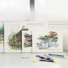 Papier crayon de couleur en Ligne-Cahier de croquis de cahier de marqueur de cahier de marqueur de A3 / A4 32 feuilles papier épais (160g) cahiers de crayons de couleur
