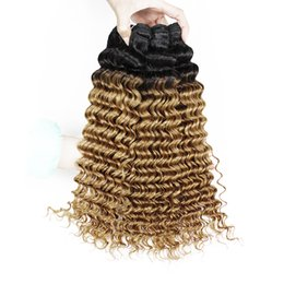 Wholesale Dark Blonde Curly Hair Extensions - Ombre Curly Hair 3 Bundles Deep Curly T 1B 27 Dark Root Honey Blonde Peruvian Hair Extensions Brazilian Indian Cambodian Human Hair Weaves